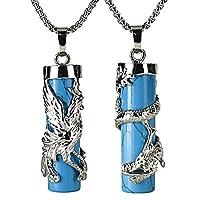Beadnova Dragon Phoenix Wrapped Column Gemstone Crystal Couple Pendant Necklace Set for Lover Valentine