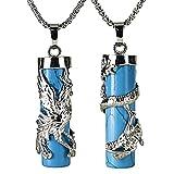 BEADNOVA Couples Necklace 2pcs Dragon Phoenix Wrapped Column Gemstone Pendant Necklaces for Lover