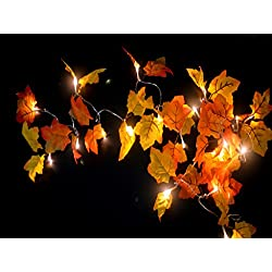 Fall Garland - 8.2 Feet - Shades of Orange and Yellow Leaves with 20 Lights - Perfect Fall/Thanksgiving Decoration (Warm white)