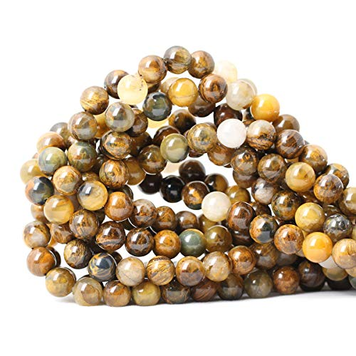 """CHEAVIAN 45PCS 8mm Natural Golden Pietersite Gemstone Round Loose Beads Stone Beads for Jewelry Making DIY Findings 1 Strand 15"""""""
