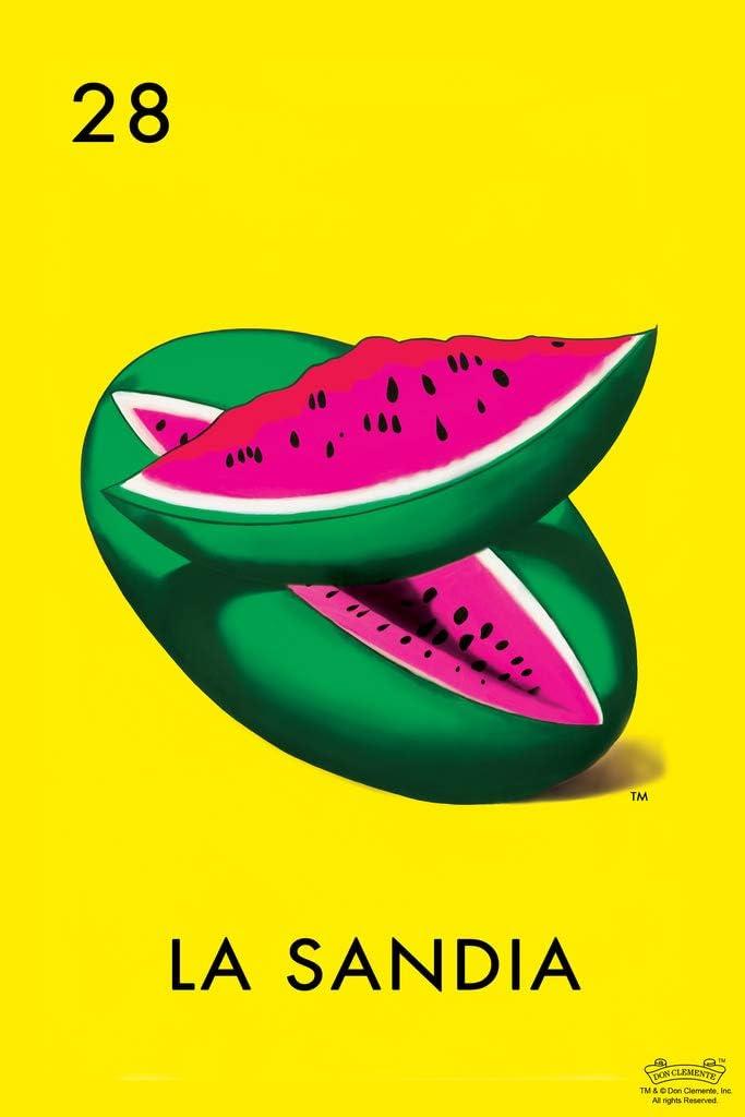 28 La Sandia Watermelon Loteria Card Mexican Bingo Lottery Cool Wall Decor Art Print Poster 12x18