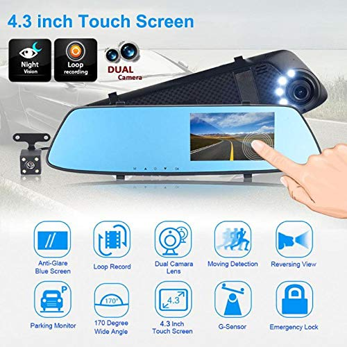 Sala-Store - 4.3inch Full HD 1080P Car DVR Camera Auto Rearview Mirror Digital Video Recorder Dual Lens Registratory Camcorder Car Styling from Sala-Store