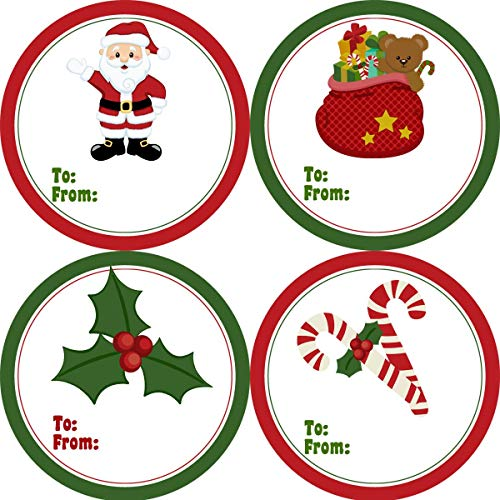 - Moira Holiday Gift Tag Stickers Green and Red Cute Classic Christmas Santa Holly and Candy Canes Gift Tags 20 Round Christmas Labels