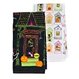Haunted House and Windows Halloween Kitchen Towels 2 Pack