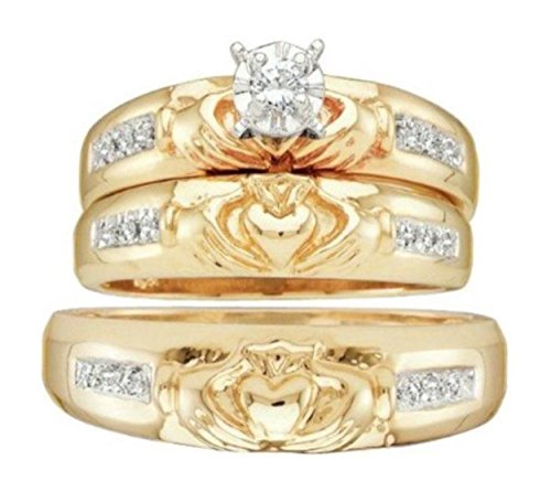 0.12 cttw 10k Yellow Gold Diamond Claddagh Engagement Ring His and Her Trio Wedding Ring Set