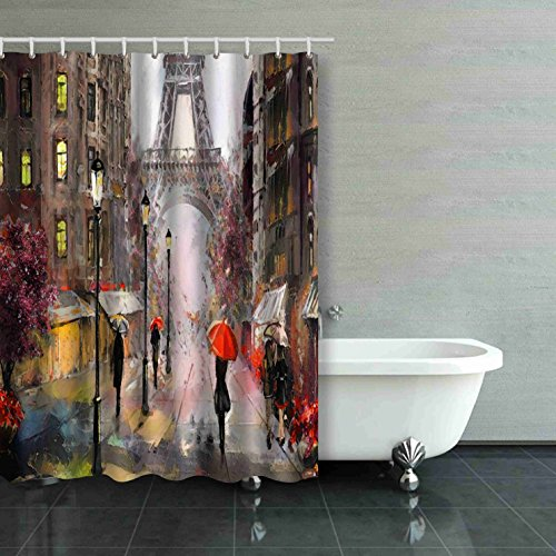 (Emvency Oil Painting On Canvas Street View of Paris Artwork Eiffel Tower People Under A Red Umbrella Tree France Extra Long 72x96 Inch Waterproof Shower Curtain Curtains Decorative Bathroom Odorless)