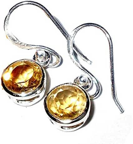 Sitara Collections SC10410 Sterling Silver Earrings, Faceted Citrine