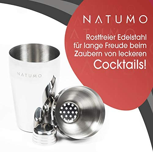 NATUMO Premium Cocktailshaker Set 8Teilig Edelstahl - Cocktailset Cocktailmixer Stößel Cocktail Mixer Zubehör Coktail Shaker Shakers Mocktail Shake Cocteil Cocktails Shaaker Sieb Strainer Bar Barset