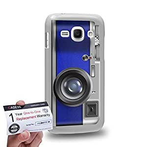 Case88 [Samsung Galaxy Ace 3] 3D impresa Carcasa/Funda dura para & Tarjeta de garantía - Art Drawing Navy Blue Retro Old Style Camera