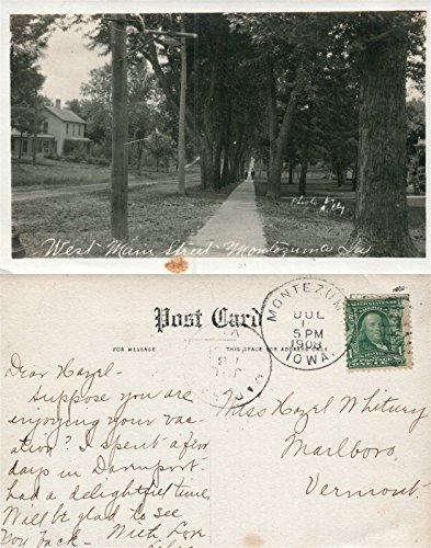 MONTEZUMA IA WEST MAIN STREET REAL PHOTO ANTIQUE 1908 POSTCARD RPPC