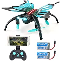 JJRC H42 RC Quadcopter ,Kingtoys Butterfly-shaped 2.4G Selfie Drone,Altitude Hold Headless ModeDetachable Butterfly Wings WIFI FPV 0.3MP Camera Mini Toys,Kids toys with 2pcs 3.7V 600mAh lipo batteries