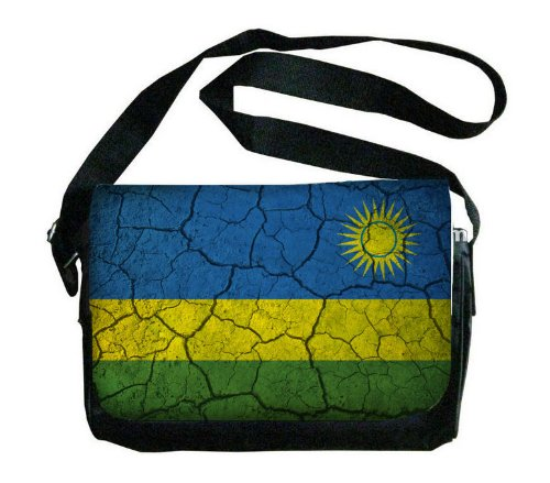 Rwanda Flag Crackled Design Messenger Bag