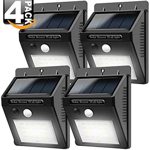 Solar Lights Outdoor, Costech Super Bright 20 LED Motion Sensor Solar Lights (4 PACK); Auto ON/OFF, Wireless Easy Installation, Security Outdoor Lights/Wall Lights for Driveway, Yard, Pathway