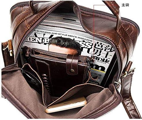 QXU-DIMDIM Mens Genuine Leather Retro Business Single Shoulder Bag with Crazy Horse Leather Color : Brown