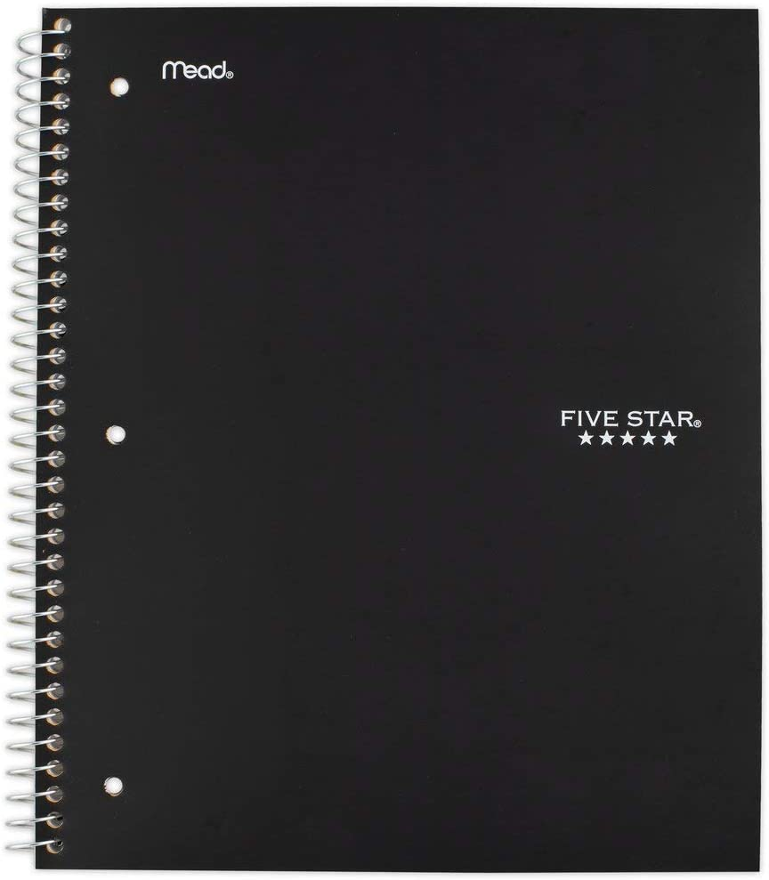 "Five Star Spiral College Ruled Notebook, 5 Subject, Wired Note Book with Pockets, 200 Lined Sheets, Writing Journal, Home School Supplies for College Students or K-12, 11"" x 8-1/2"", Black (72081)"