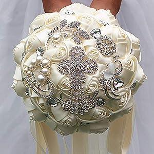 Artificial Rose Silk Flower Decoration Bride Wedding Dance Party Ivory White Ribbon Rhinestones Holding Flowers 22