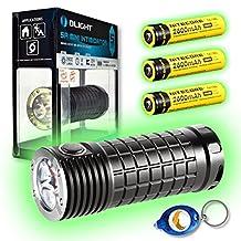 Olight SR Mini Intimidator 3 x CREE XM-L2 LED Flashlight - 2800 Lumen w/Free Keychain Light (SR Mini + 3x NL183 + Keychain Light)