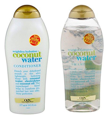 (OGX) Organix weightless hydration COCONUT WATER SHAMPOO & CONDITIONER Set, 19.5 Oz ea.