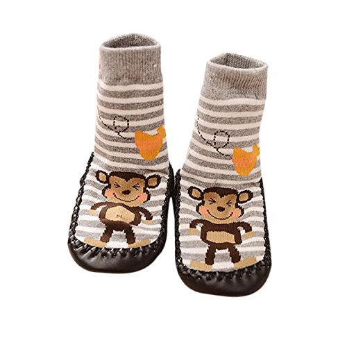 (Ec Cartoon Kid Toddler Baby Anti-slip Sock Shoes Boots Slipper Socks Foor Socks (12-18months., Gray))