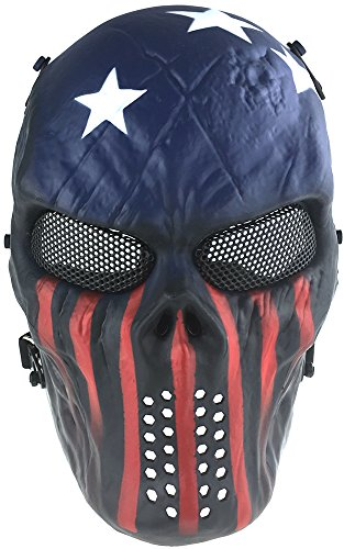 SportPro M06 Skull Skeleton Metal Mesh Eye Protection Full Face Mask for Airsoft - Captain
