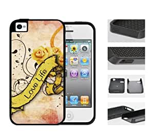 Love Life Saying with Yellow Roses Banner (iPhone 5/5s) 2-piece Dual Layer High Impact Black Silicone Cover Case