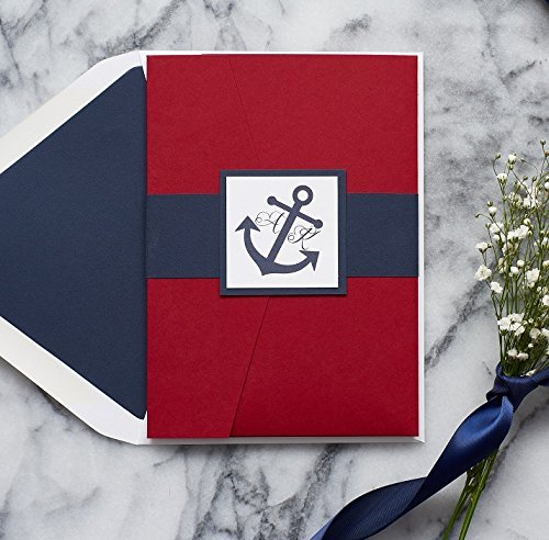 Custom Nautical Anchor Wedding Invitation Set, Naval Wedding Suite, Pocketfolder, Ariana Sample
