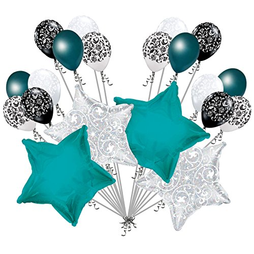 20 pc Turquoise Stars & Filigree Balloon Bouquet Wedding Baby Shower Bridal ()