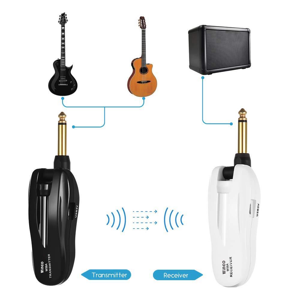 WINGO Sistema di Chitarra Wireless Trasmettitore e Ricevitore 5.8G con 4 Canali Audio Ricaricabile per Chitarra Elettrica e Basso Elettrico.
