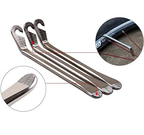 BlueSunshine Bicycle Tire Lever - Premium Hardened Stainless steel Levers to Repair Bike Tube - Must Have Tool Kit for Road Bicyclist - Set of 3 ()