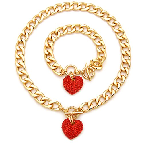King Costume Jewelry (Women's Pave Filled 3D Heart Pendant 16