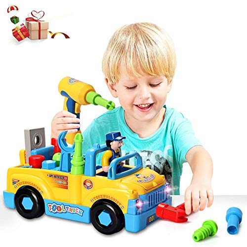 HOMOFY STEM Toys 132PCS 5-in-1 Building Blocks Construction Toys - Educational & Playing for Take Apart Toys Ages 4 5 6 7 8 Years Old Boys Girls Kids Toddlers (Multifunctional Construction Trucks)