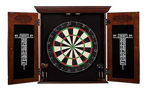 DRB100_047B BARRINGTON Chatham Bristle Dartboard & Cabinet Set, Dark Wood (Bristle Dartboard Wood Cabinet)