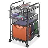 5213BL 3 Drawer Mesh Mobile Rolling File Storage Cart, Letter Size, Onyx/Black