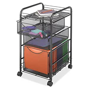 Safco Products 5213BL Onyx Mesh File Cart with 1 File Drawer and 2 Small Drawers, Letter Size, Black