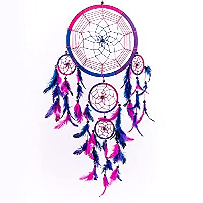 Caught Dreams Dream Catcher ~ Handmade Traditional Royal Blue, Pink & Purple 8.5