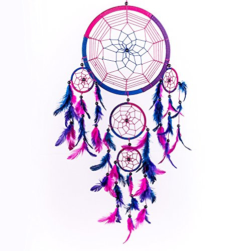 Caught Dreams Dream Catcher ~ Handmade Traditional Royal Blue, Pink and Purple 8.5 Diameter and 24 Long