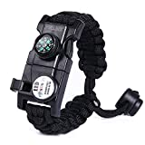 tiny fire starter kit - XNTBX Emergency Survival Paracord Bracelet - Multifunctional Wilderness Survival Kit with SOS LED Light, Compass, Fire Starter, Whistle, Scraper, Emergency Tool (Black)