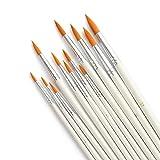 LANIAKEA Paint Brushes, 12pcs Paint Brush Set for Watercolor/Oil/Acrylic/Crafts/Rock & Face Painting(White)