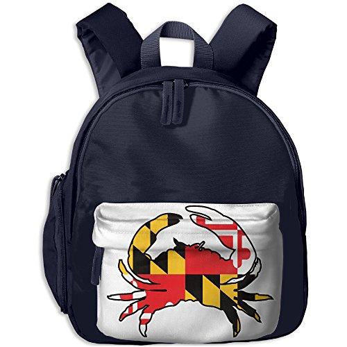 Maryland Full Flag Crab Kids School Shoulders Bag Side Pocket Lunch Backpack Navy