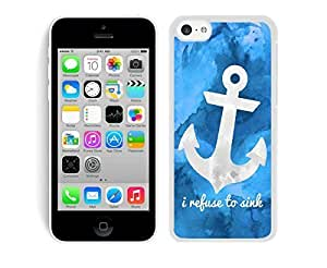 MEIMEI Apple ipod touch 5 TPU Case Blue Art Anchor Soft Silicone Rubber Cell Phone White CoverLINMM58281