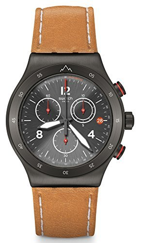 Swatch Irony Chrono Black Dial Leather Strap Men's Watch YVZ400 ()
