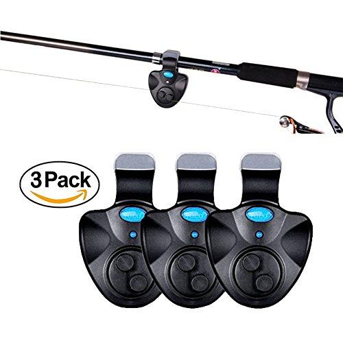 ThreeCat Alarmas de picado para Pesca con luz LED, Caña de Pescar con Clip, Alarma de Pico, indicador de Línea de Pesca,...