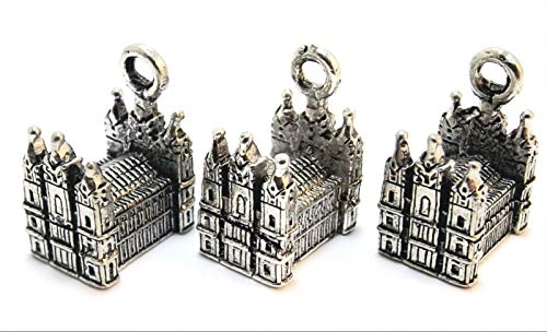 Set of Three (3 Pewter Mormon Temple Charms - 1224 for Jewelry Making Bracelet Necklace DIY Crafts
