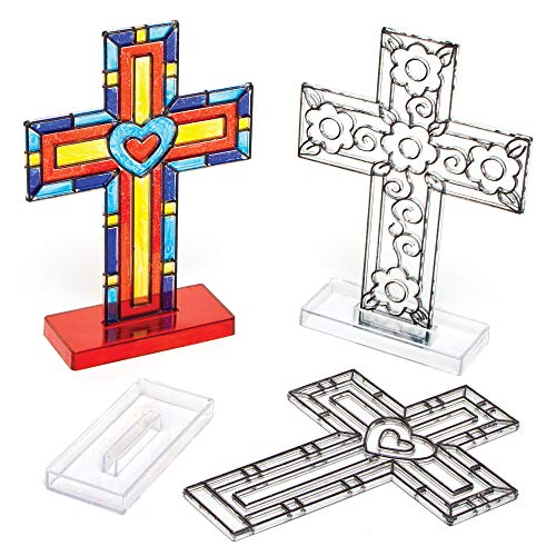 Stained Glass Cross Craft (Baker Ross Cross Stand-Up Suncatchers Craft Set for Kids to Decorate and Personalise - Christian Arts and Crafts for Easter (Pack of)