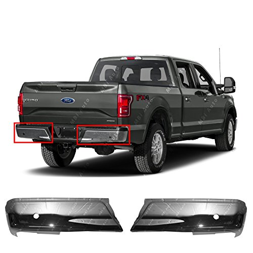 (MBI AUTO - Chrome, Steel Pair of Left & Right Rear Bumper Ends for 2015 2016 2017 Ford F150 Pickup W/Park 15-17, FO1102381)
