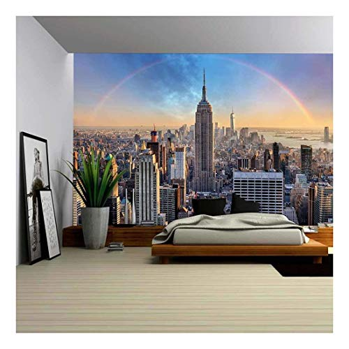 York City Rainbow Skyline Wall Mural Decor