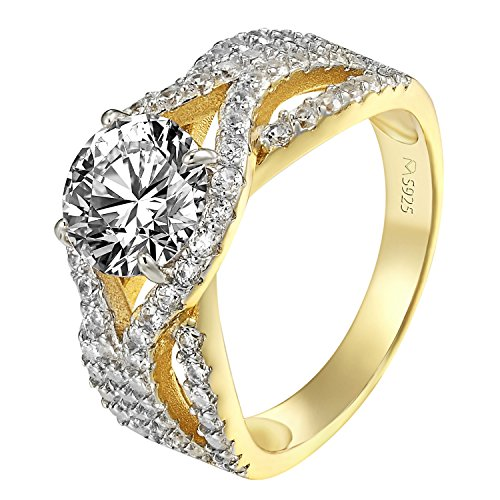 .925 Sterling Silver Bridal Wedding Ring 14k Gold Finish Wedding Bridal Solitaire