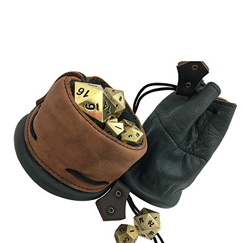 Leather Dice Bag - Green and Brown - Handmade in The USA - Norse Foundry