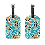 Cooper girl Lovely Sea Otters And Fish Luggage Tag Travel ID Label Leather for Baggage Suitcase 2 Piece