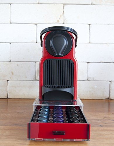 Single Essenza (Pod Storage Drawer for 21 Nespresso Capsules red color drawer)